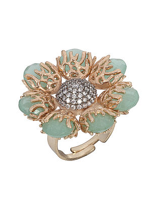 Green Chalcedony Gold-plated Brass Adjustable Ring
