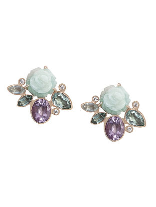 Green Hydro Tourmaline and Hydro Amethyst Gold-plated Earrings