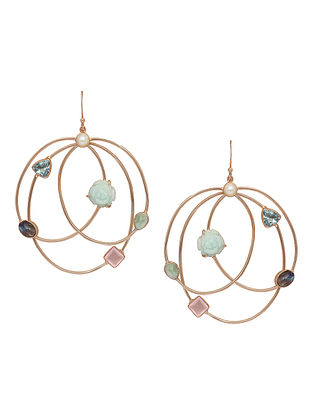 Green Hydro Tourmaline and Amazonite Gold-plated Earrings