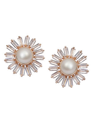 Classic Gold-plated Brass Pearl Earrings