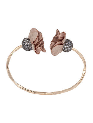 Pave Beige Suede Flowers Pod Cuff