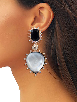 Black-White Mela Statement Earrings