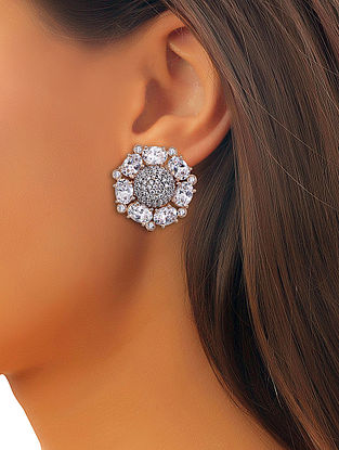 White Gold Tone Roza Pave Earrings