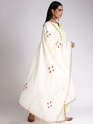 Ivory Embroidered Cotton Dupatta with Gota and Zari Lace