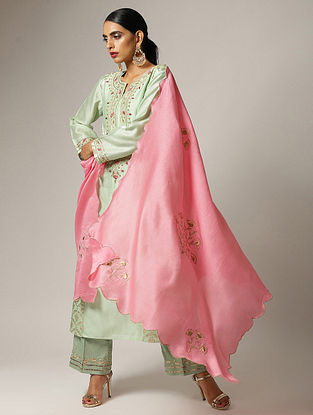 Pink Silk Chanderi Dupatta with Zari and Scallop Details