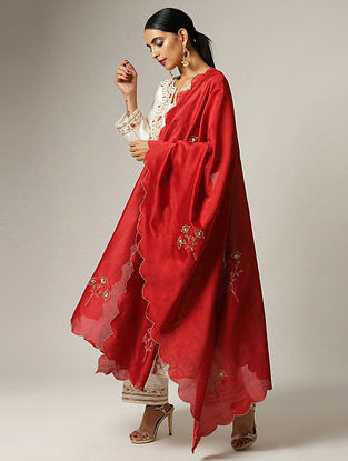 Red Silk Chanderi Dupatta with Zari and Scallop Details