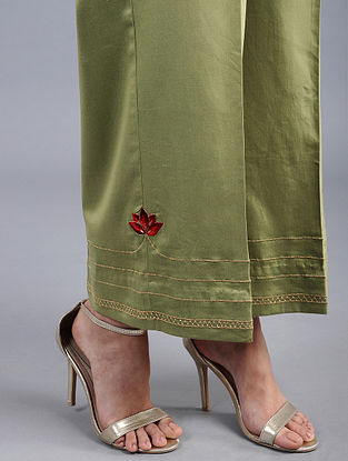 Green Embroidered Cotton Satin Palazzos with Zari Work