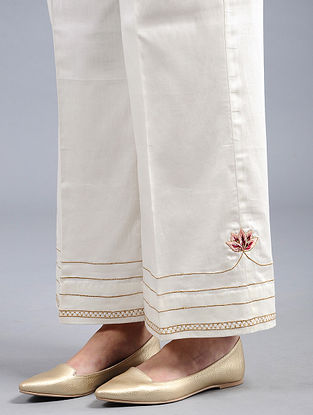 Ivory Embroidered Cotton Satin Palazzos with Zari Work