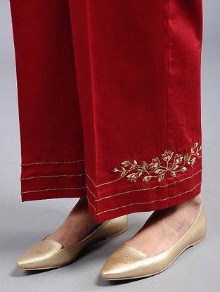 Red Embroidered Cotton Silk Palazzos with Zari Work