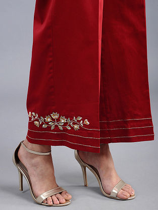 Red Embroidered Cotton Satin Palazzos with Zari Work