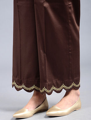 Brown Embroidered Cotton Satin Palazzos