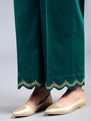 Green Embroidered Cotton Satin Palazzos