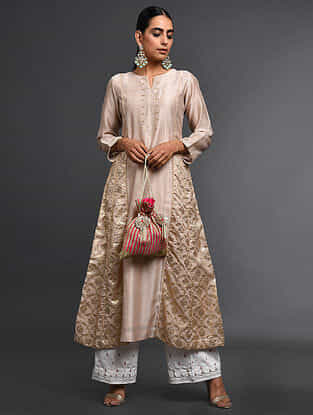 Old Rose Zari-Embroidered Silk-Chanderi Kali Kurta