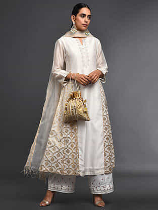Ivory Zari-Embroidered Silk-Chanderi Kali Kurta