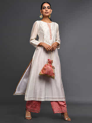 Ivory Zari-Embroidered Silk-Chanderi Kurta