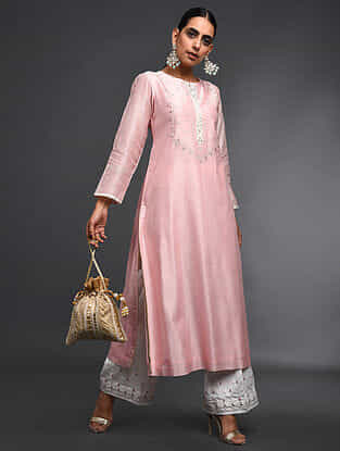 Pink Zari-Embroidered Silk-Chanderi Kurta