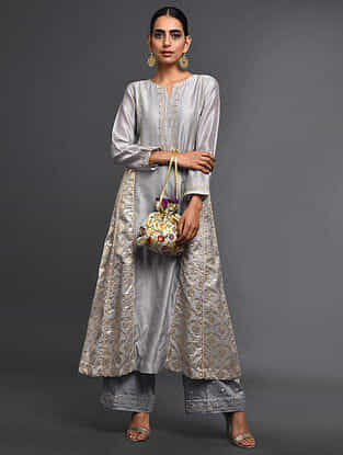 Grey Zari-Embroidered Silk-Chanderi Kali Kurta