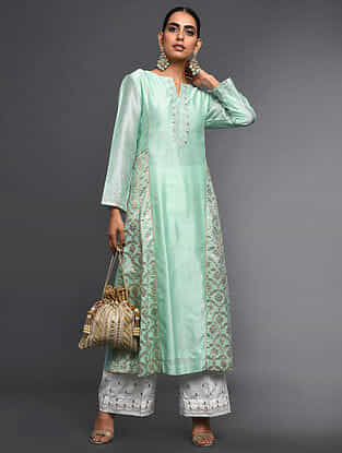 Mint Green Zari-Embroidered Silk-Chanderi Kali Kurta