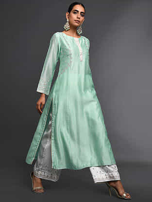 Mint Green Zari-Embroidered Silk-Chanderi Kurta