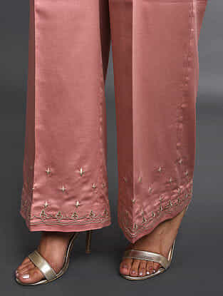 Pink Zari-Embroidered Cotton Satin Palazzos