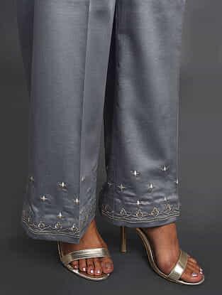 Grey Zari-Embroidered Cotton Satin Palazzos