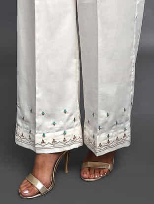 Ivory Zari-Embroidered Cotton Satin Palazzos