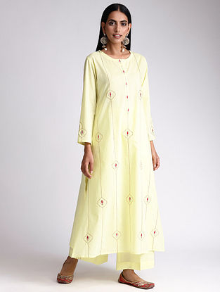 Yellow Embroidered Cotton Kurta with Gota Work