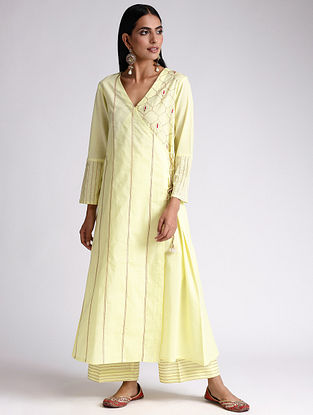 Yellow Embroidered Cotton Angrakha Kurta with Gota Work