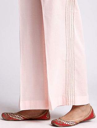 Pastel Pink Cotton Palazzo with Gota Detailing