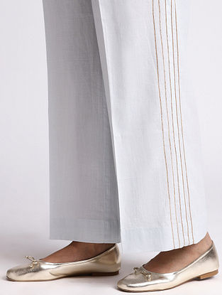 Pastel Blue Cotton Palazzo with Gota Detailing