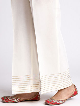 Ivory Cotton Palazzo with Gota Detailing