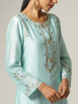 Blue Embroidered Silk Chanderi Kurta