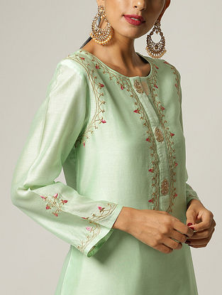 Green Embroidered Silk Chanderi Kurta