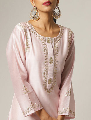 Pink Embroidered Silk Chanderi Kurta