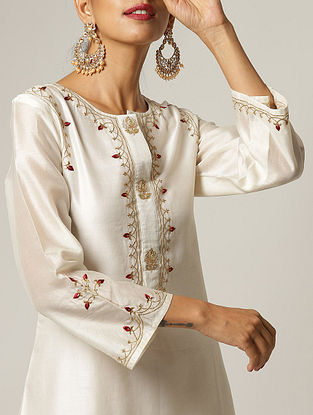 Ivory Embroidered Silk Chanderi Kurta