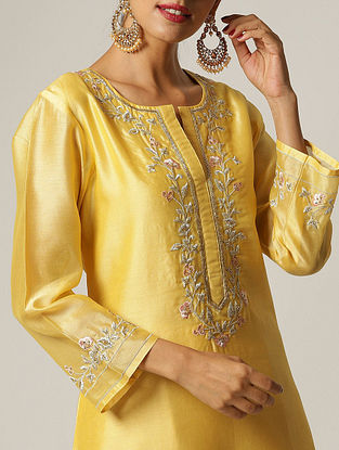 Yellow Hand Embroidered Silk Chanderi Kurta