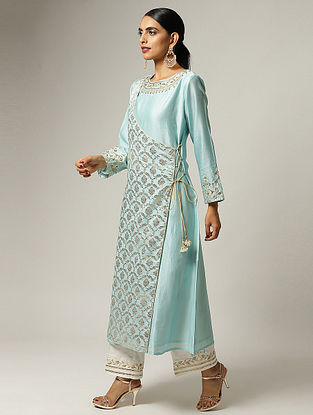 Blue Hand Embroidered Silk Chanderi Angrakha Kurta