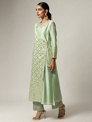 Green Hand Embroidered Silk Chanderi Angrakha Kurta