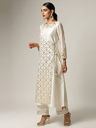 Ivory Hand Embroidered Silk Chanderi Angrakha Kurta