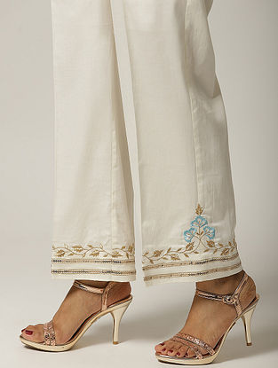 Ivory Embroidered Cotton Satin Palazzo with Sequins