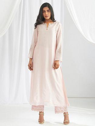 Pink Embroidered Silk Chanderi Kurta