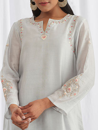 Light Grey Embroidered Silk Chanderi Kurta