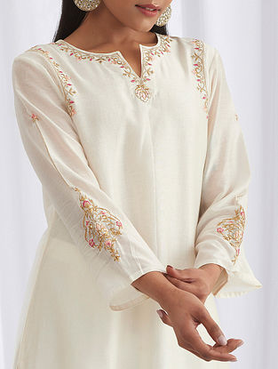 Ivory Embroidered Silk Chanderi Kurta