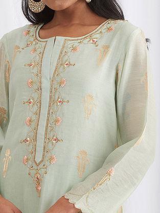 Pastel Green Hand Embroidered Silk Chanderi Kurta