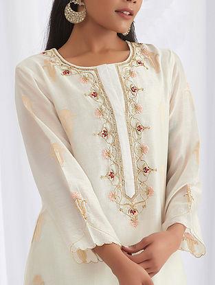 Ivory Hand Embroidered Silk Chanderi Kurta