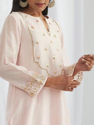 Pink Hand Embroidered Silk Chanderi Kurta