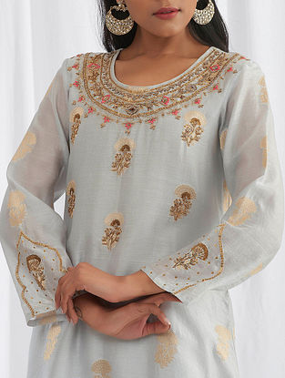 Light Grey Hand Embroidered Silk Chanderi Kurta