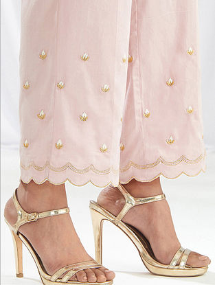 Pink Scalloped Cotton Satin Palazzos with Embroidery