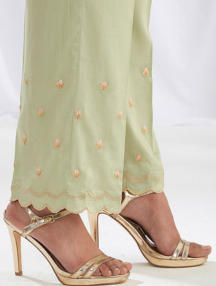 Pastel Green Scalloped Cotton Satin Palazzos with Embroidery