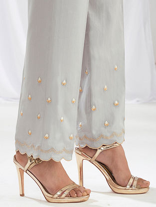 Light Grey Scalloped Cotton Satin Palazzos with Embroidery